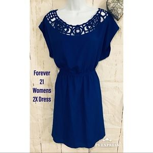 Womens 2X forever 21 caged neck dress blue beauty!